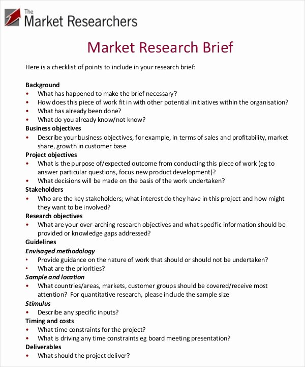 Market Research Proposal Template Luxury Marketing Brief Template Free Word Excel Documents
