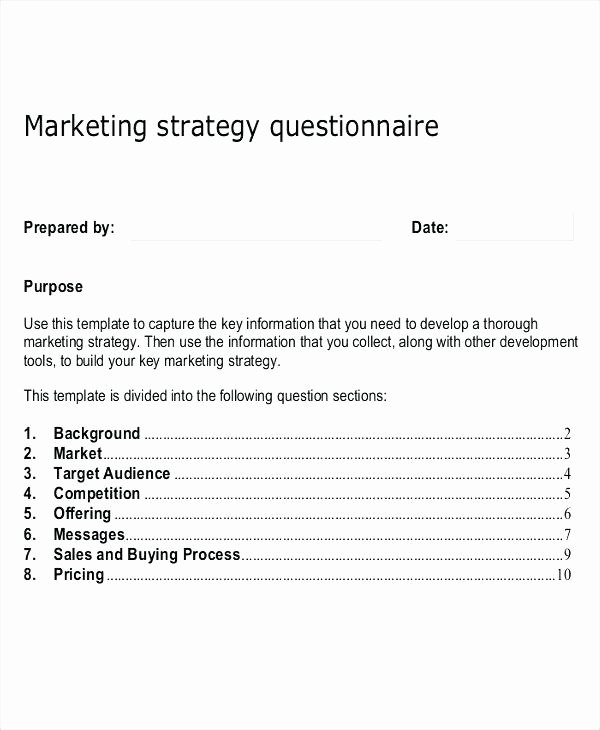 Market Research Survey Template Awesome 7 Marketing Research Survey Template Market Questionnaire