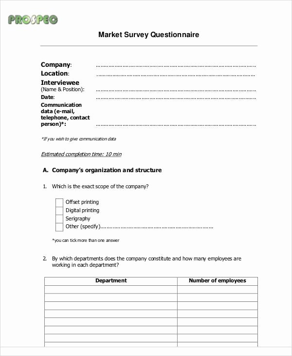 Market Research Survey Template Elegant 44 Sample Survey forms In Pdf