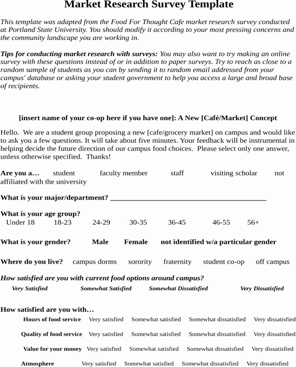 Market Research Survey Template Elegant Download Market Research Survey Sample for Food for Free
