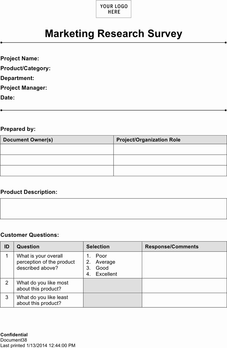 Market Research Survey Template Fresh 4 Marketing Research Template Free Download