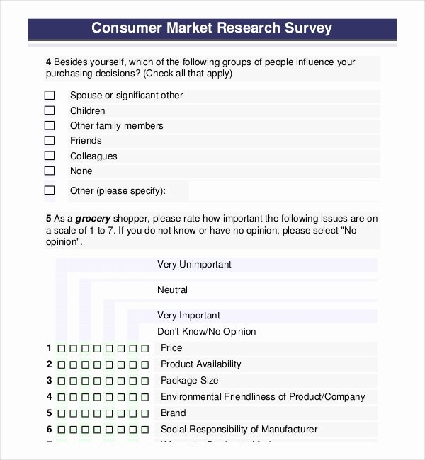 Market Research Survey Template Fresh Free Survey Template – 14 Free Word Excel Pdf Documents
