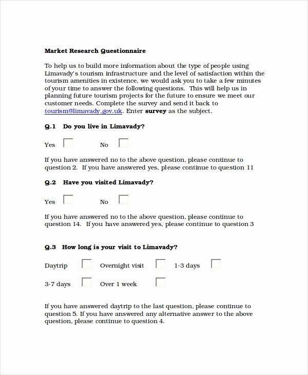 Market Research Survey Template Lovely Questionnaire Template Word 11 Free Word Document