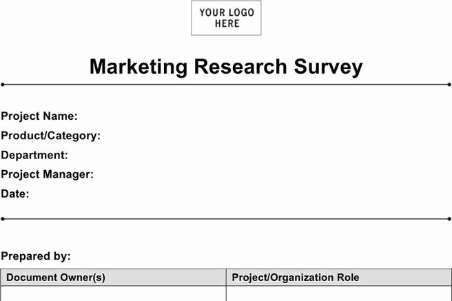 Market Research Survey Template Luxury 4 Marketing Research Template Free Download