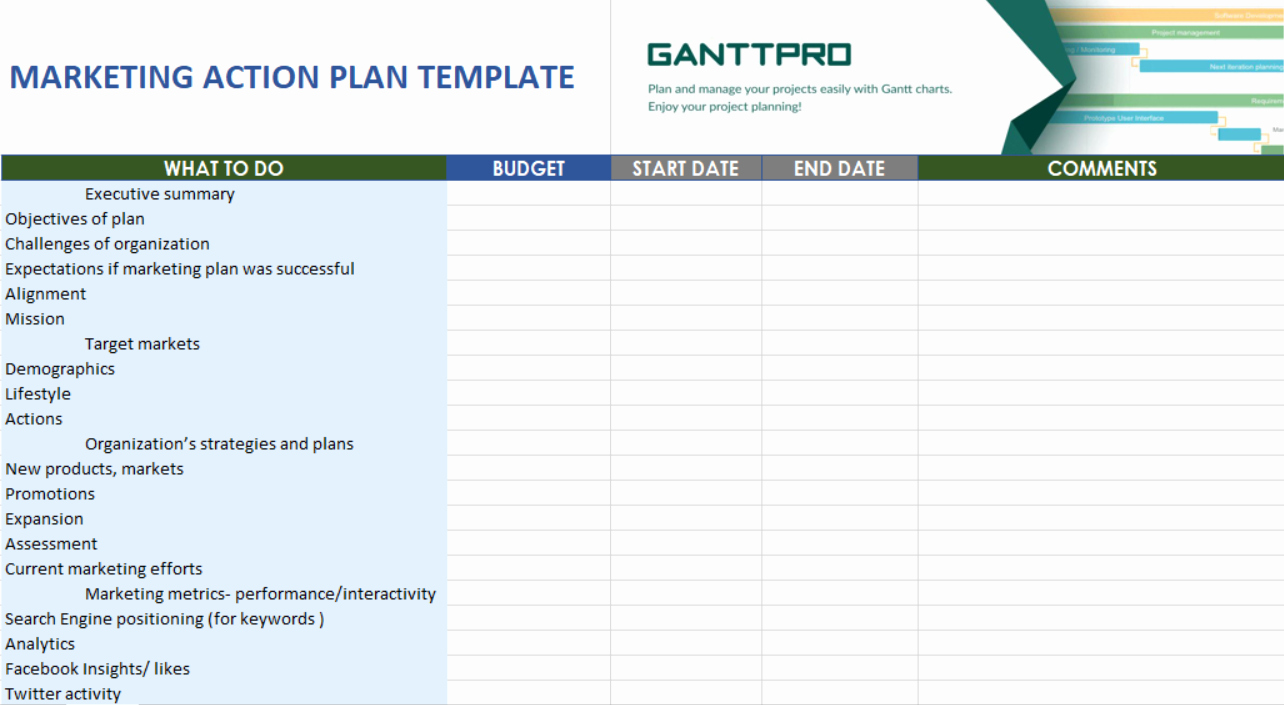 Marketing Action Plan Template Excel Inspirational Marketing Action Plan Template Free Download