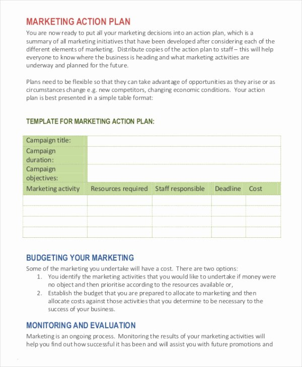 Marketing Action Plan Template New Marketing Plan Template 20 Free Word Excel Pdf Ppt