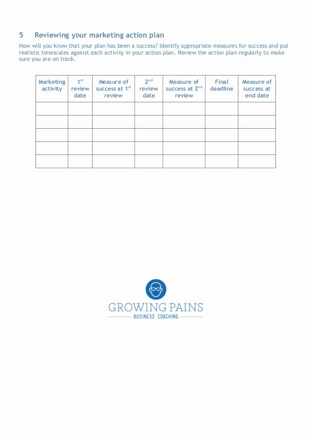 Marketing Action Plan Template New the Marketing Plan Template for Your Business