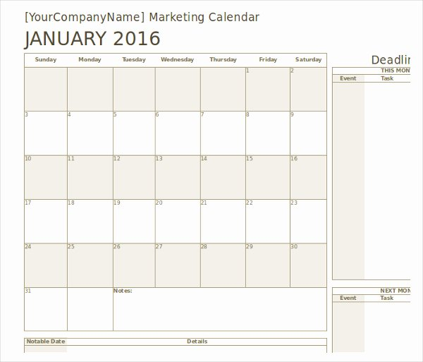Marketing Calendar Template 2017 Unique Marketing Calendar Template