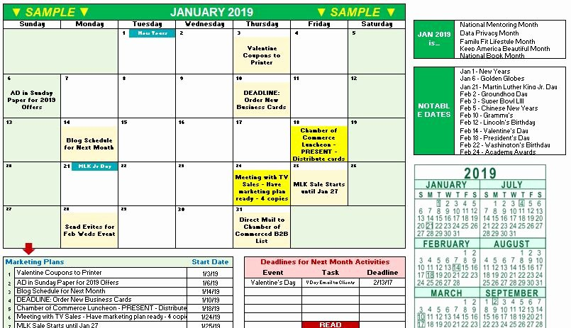 Marketing Calendar Template Excel Awesome 2019 Marketing Calendar Template In Excel Free Download