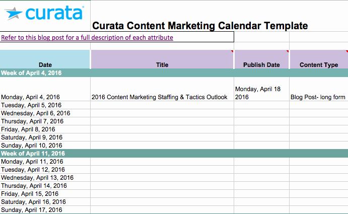 Marketing Calendar Template Excel Beautiful Editorial Calendar Templates for Content Marketing the