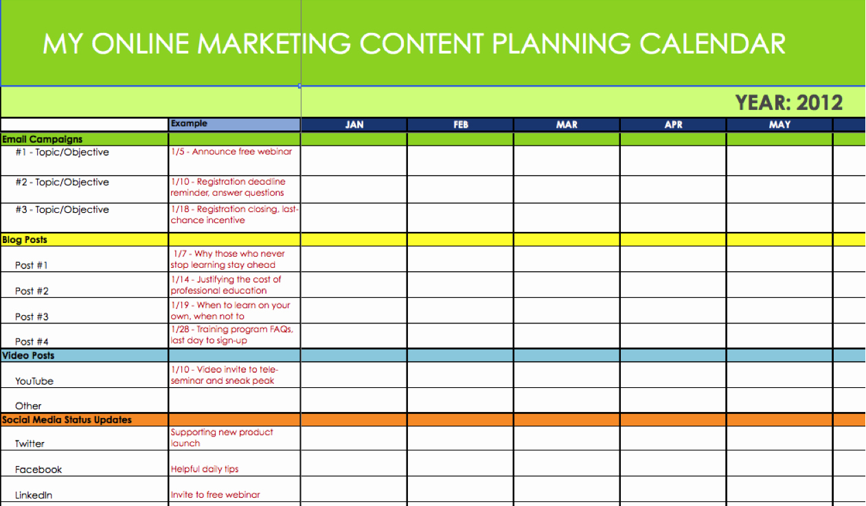 Marketing Calendar Template Excel Beautiful Line Marketing Content & Message Plannersynchronicity