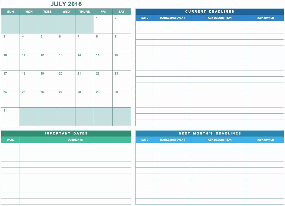 Marketing Calendar Template Excel Inspirational 9 Free Marketing Calendar Templates for Excel Smartsheet