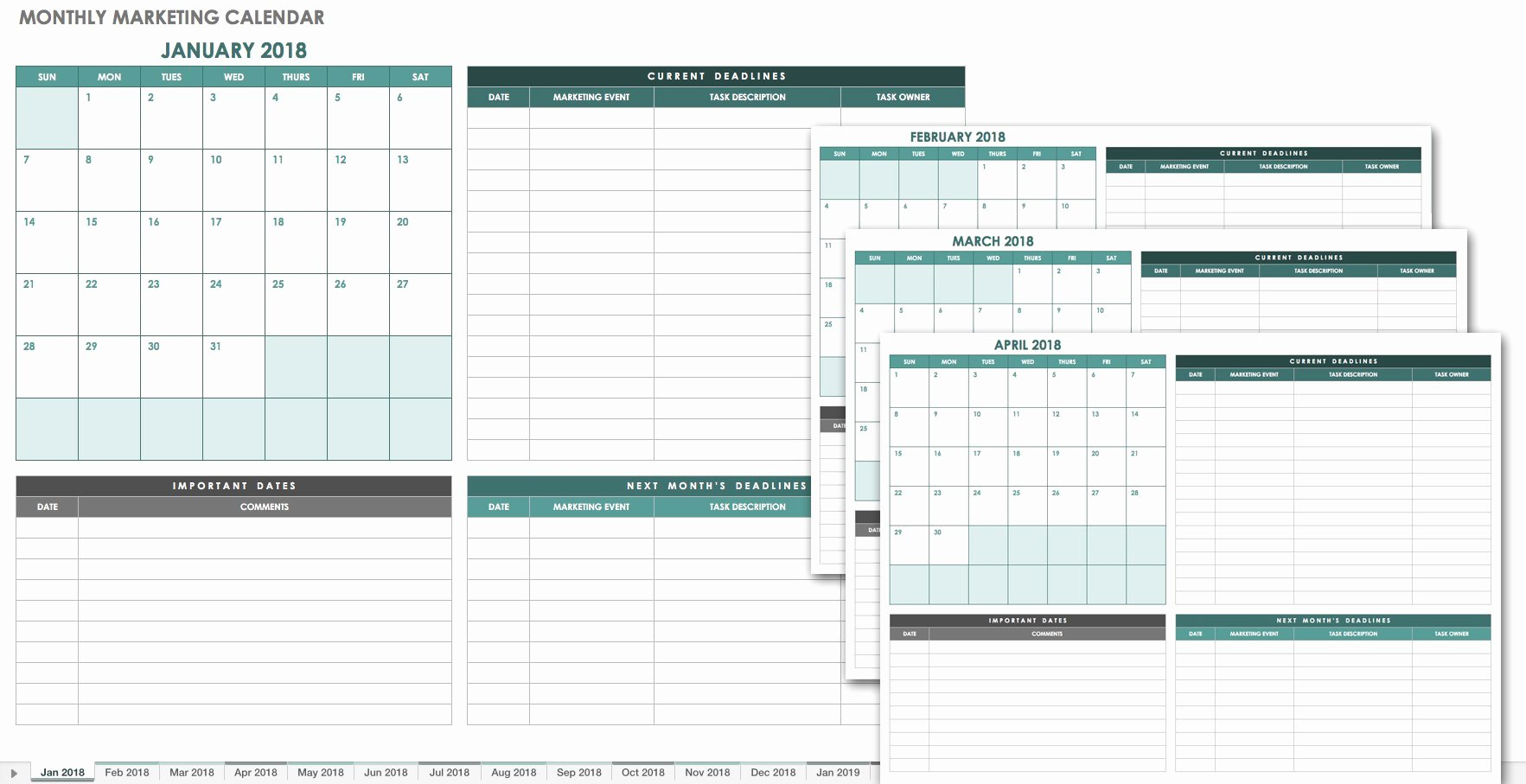 Marketing Calendar Template Excel Lovely 15 Free Monthly Calendar Templates
