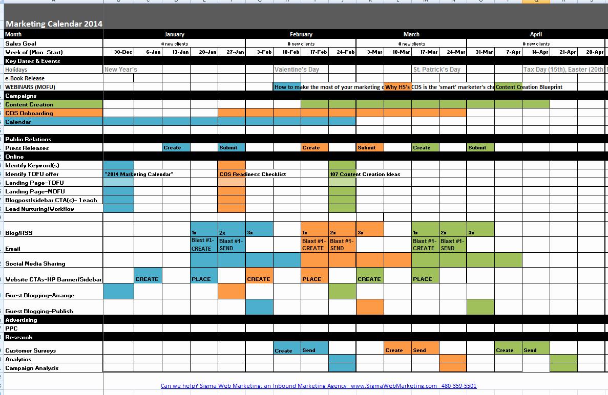 Marketing Calendar Template Excel Lovely Marketing Calendar Template