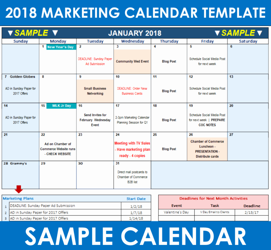 Marketing Calendar Template Excel Luxury 2018 Marketing Calendar Template In Excel Free Download