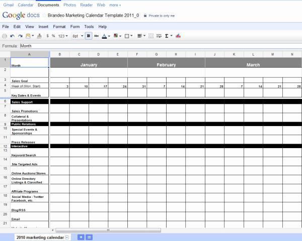 Marketing Calendar Template Excel Unique Free Excel Marketing Calendar Template
