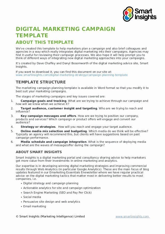 Marketing Campaign Plan Template Fresh Digital Marketing Campaign Template