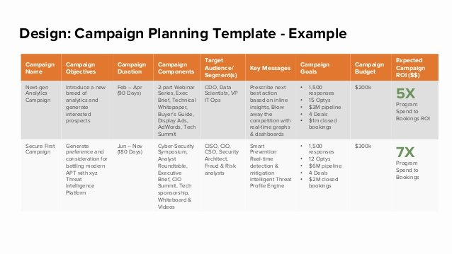 Marketing Campaign Proposal Template Inspirational Design Campaign Planning Template