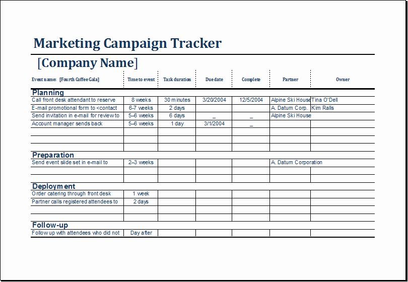 Marketing Campaign Proposal Template Luxury Marketing Campaign Tracker Template at
