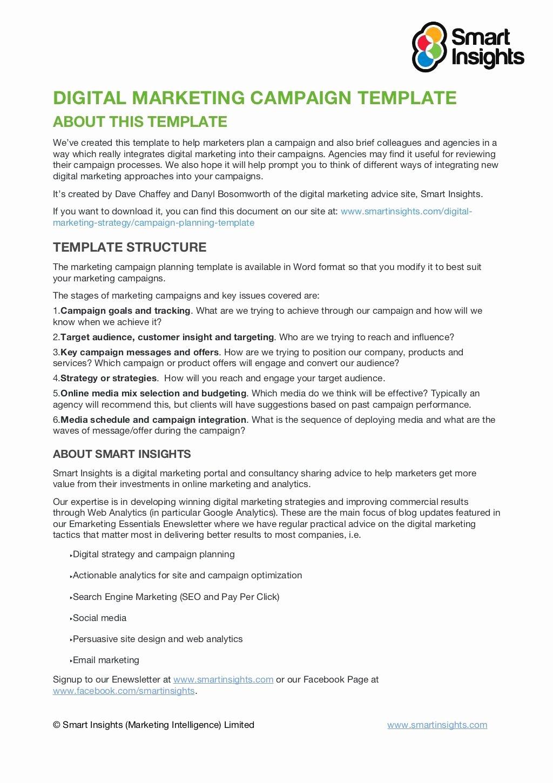 Marketing Campaign Proposal Template Unique Digital Marketing Campaign Planning Template