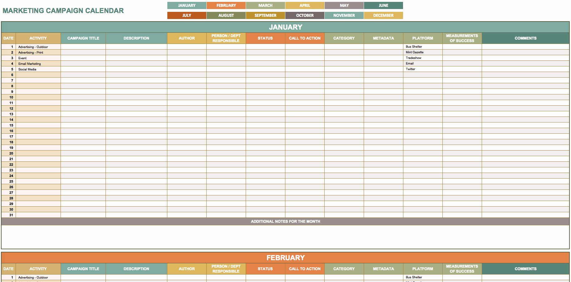 Marketing Campaign Template Excel Awesome 9 Free Marketing Calendar Templates for Excel Smartsheet
