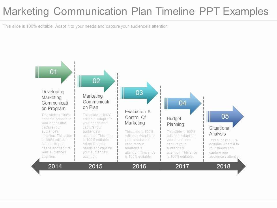 Marketing Communications Plan Template Elegant Marketing Munication Plan Timeline Ppt Examples