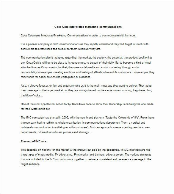 Marketing Communications Plan Template Fresh 9 Integrated Marketing Munication Plan Templates Doc