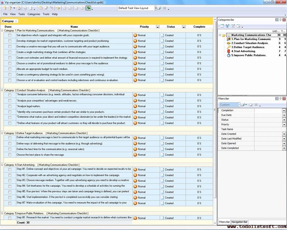 Marketing Communications Plan Template Luxury Marketing Checklists to Do List organizer Checklist