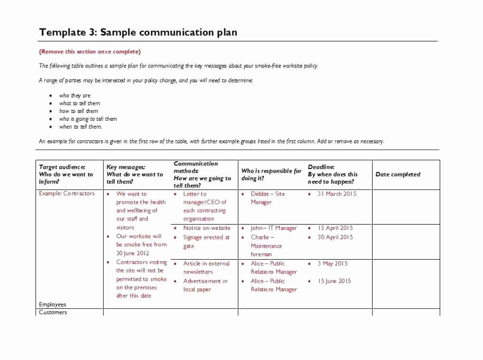 Marketing Communications Plan Template New Munication Strategy Template Internal 9 Marketing and