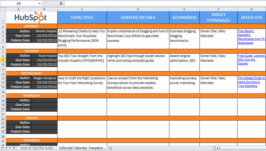 Marketing Content Calendar Template Awesome 6 Useful Content Marketing tools and Templates