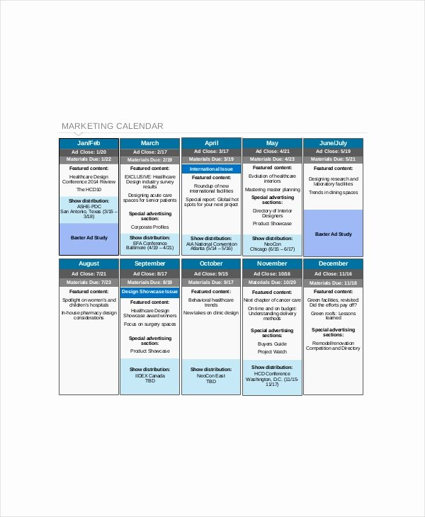 Marketing Content Calendar Template Beautiful Content Calendar Template 8 Free Excel Pdf Documents
