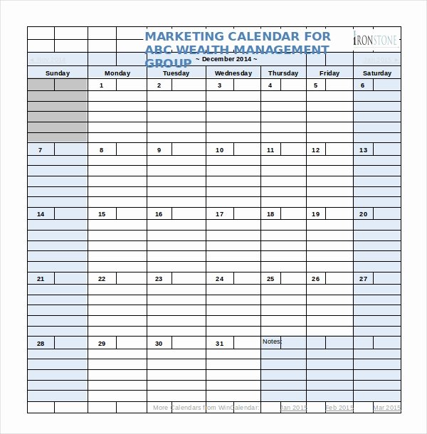 Marketing Content Calendar Template Beautiful Marketing Calendar Template 3 Free Excel Documents