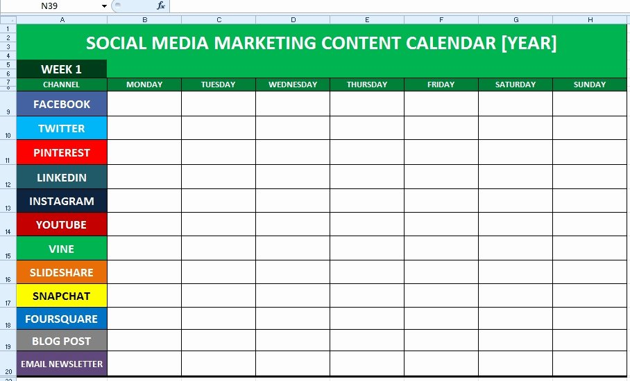 Marketing Content Calendar Template Beautiful social Media Calendar Template