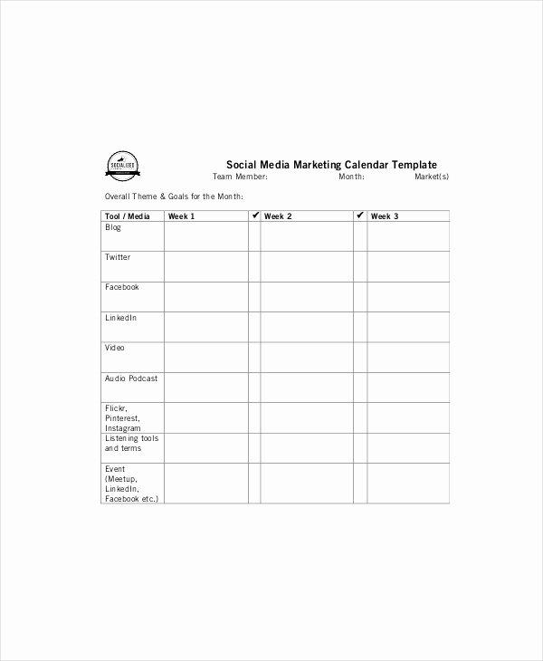 Marketing Content Calendar Template Fresh 6 Marketing Calendar Templates Free Sample Example