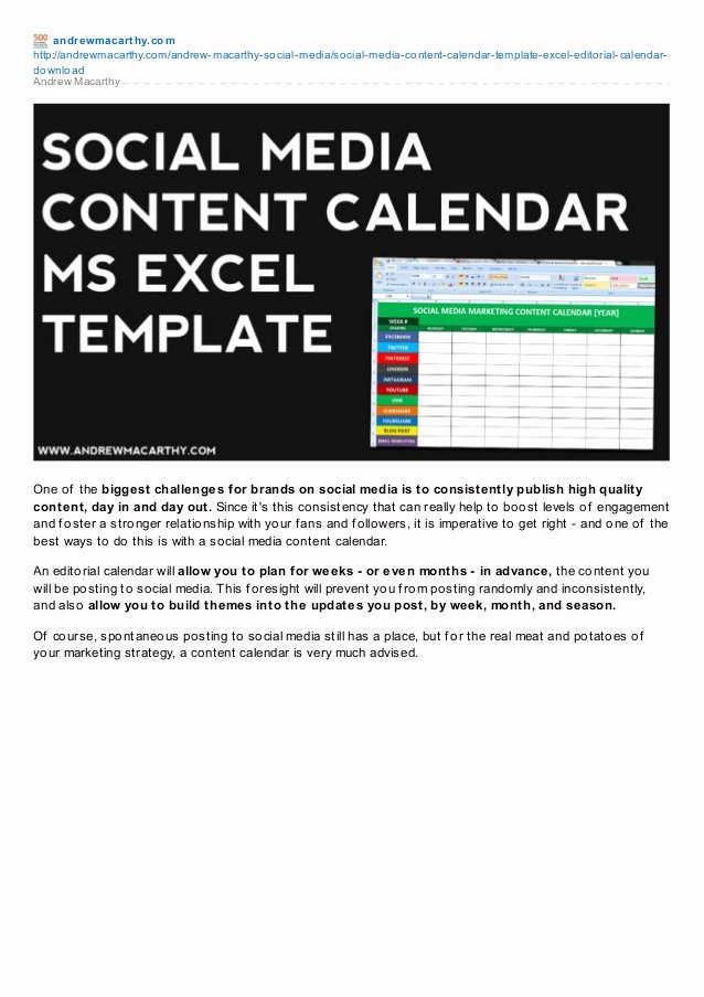 Marketing Content Calendar Template Inspirational social Media Content Calendar Template Excel