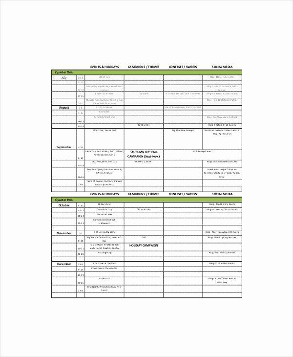 Marketing Content Calendar Template New Content Calendar Template 8 Free Excel Pdf Documents