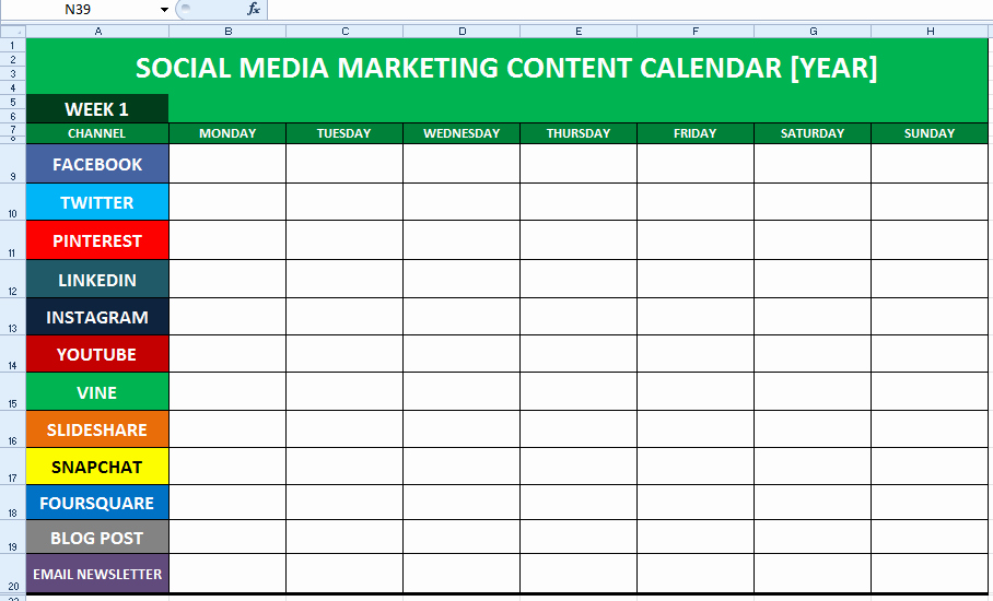 Marketing Content Calendar Template New social Media Content Calendar Template Excel