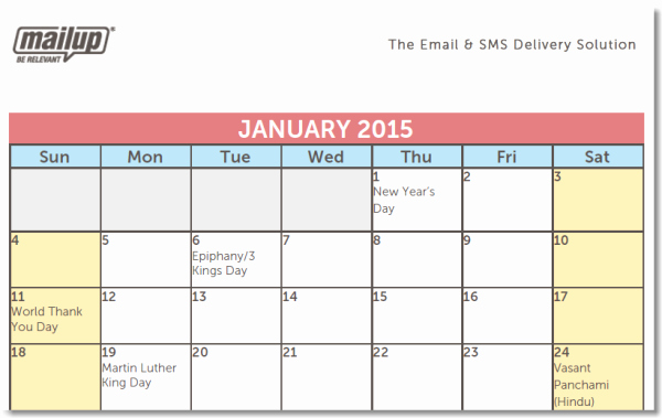 Marketing Content Calendar Template Unique A 2015 Editorial Calendar Template for Savvy Email Marketers