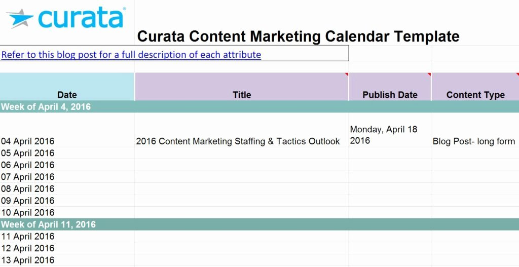 Marketing Content Calendar Template Unique Content Marketing Calendar Template