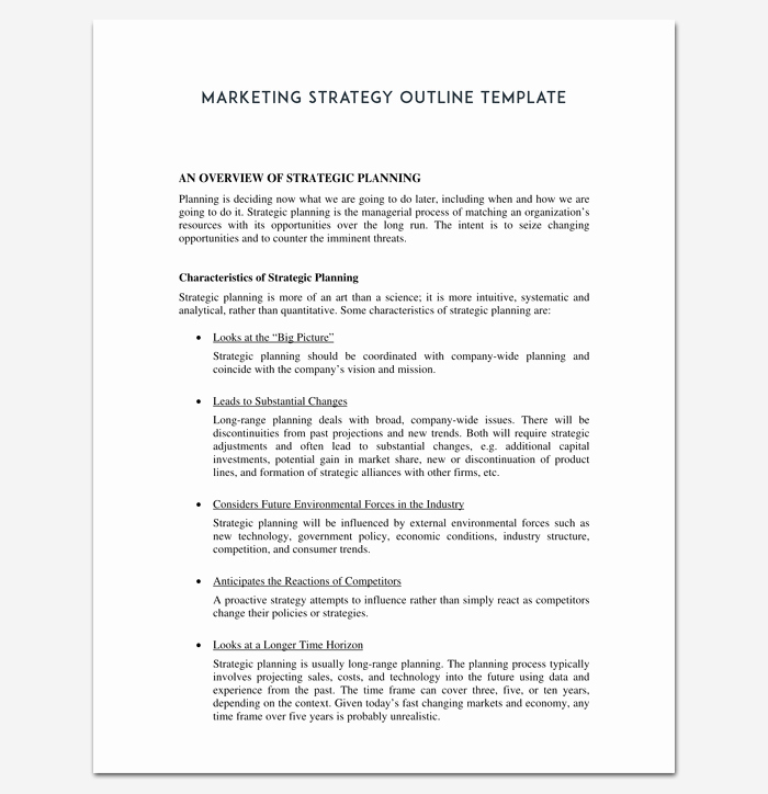 Marketing Plan Outline Template Beautiful Marketing Plan Outline Template 16 Examples for Word