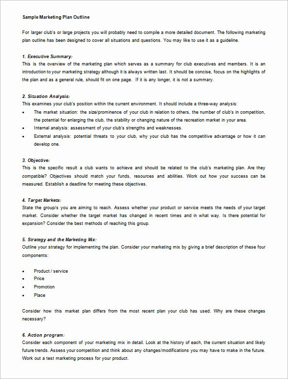 Marketing Plan Outline Template Lovely Marketing Plan Outline Template 13 Free Sample Example