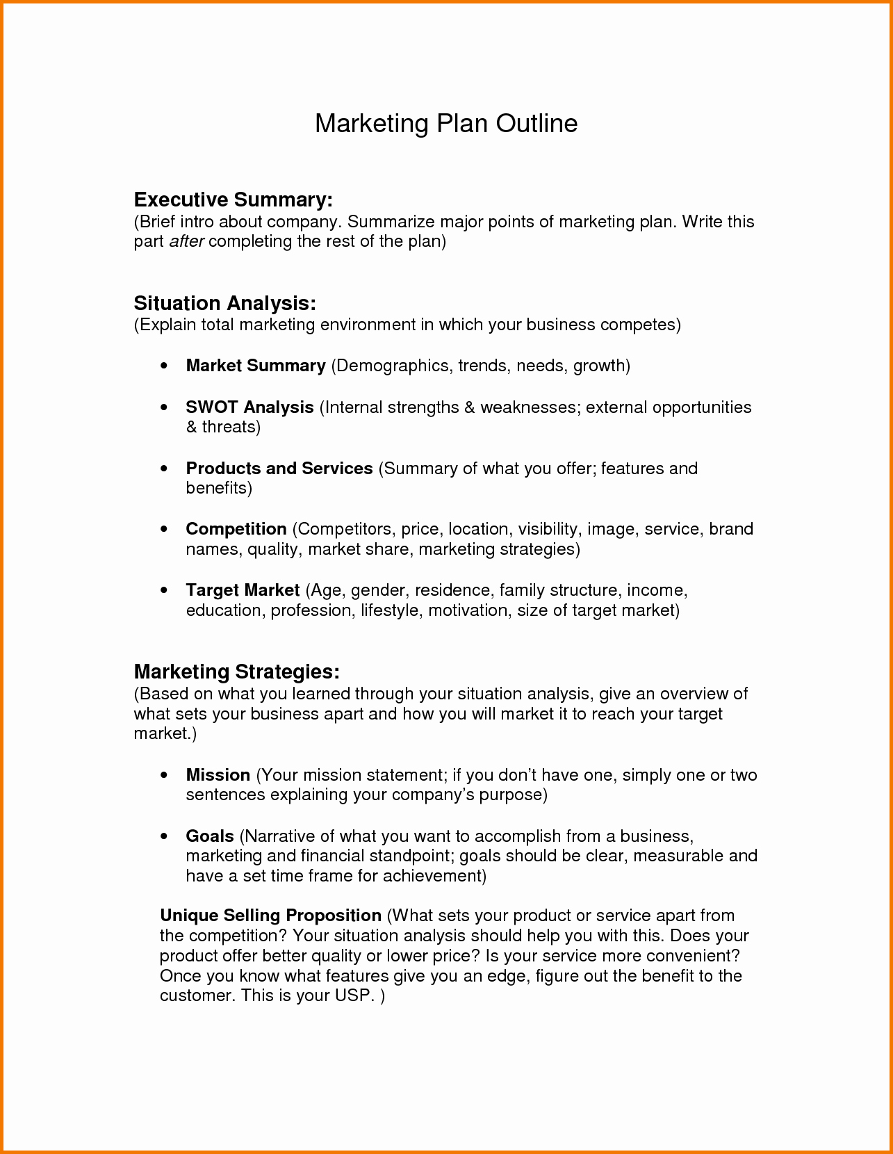 Marketing Plan Outline Template Luxury Build A Marketing Plan
