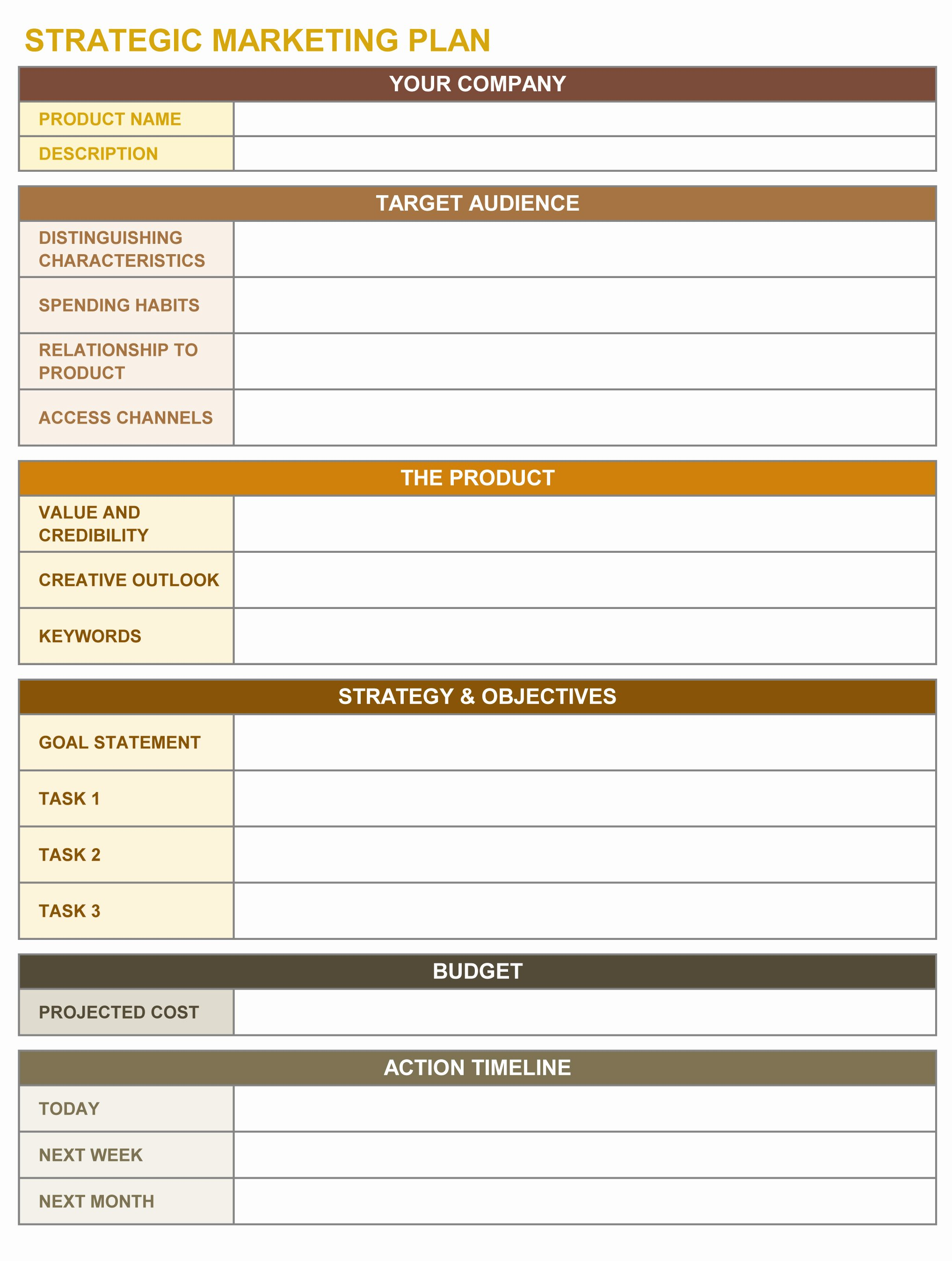 Marketing Plan Template Excel Awesome 9 Free Strategic Planning Templates Smartsheet