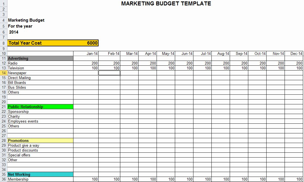 Marketing Plan Template Excel Awesome Marketing Bud Template In Excel