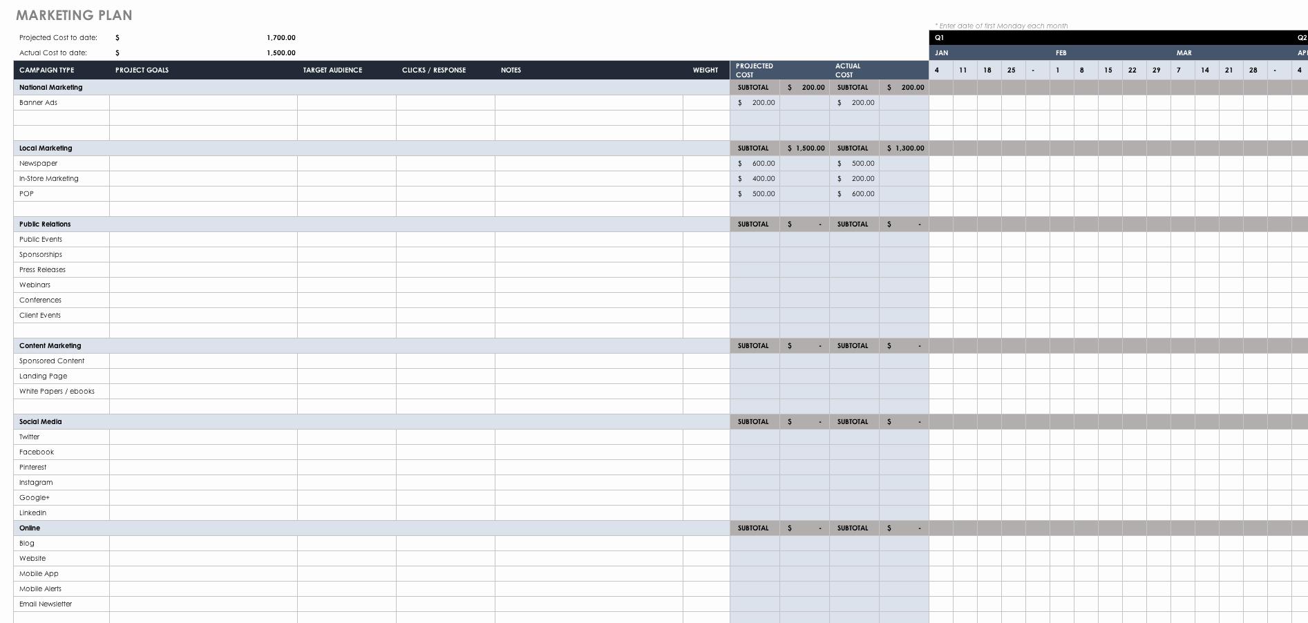 Marketing Plan Template Excel Elegant Free Marketing Plan Templates for Excel