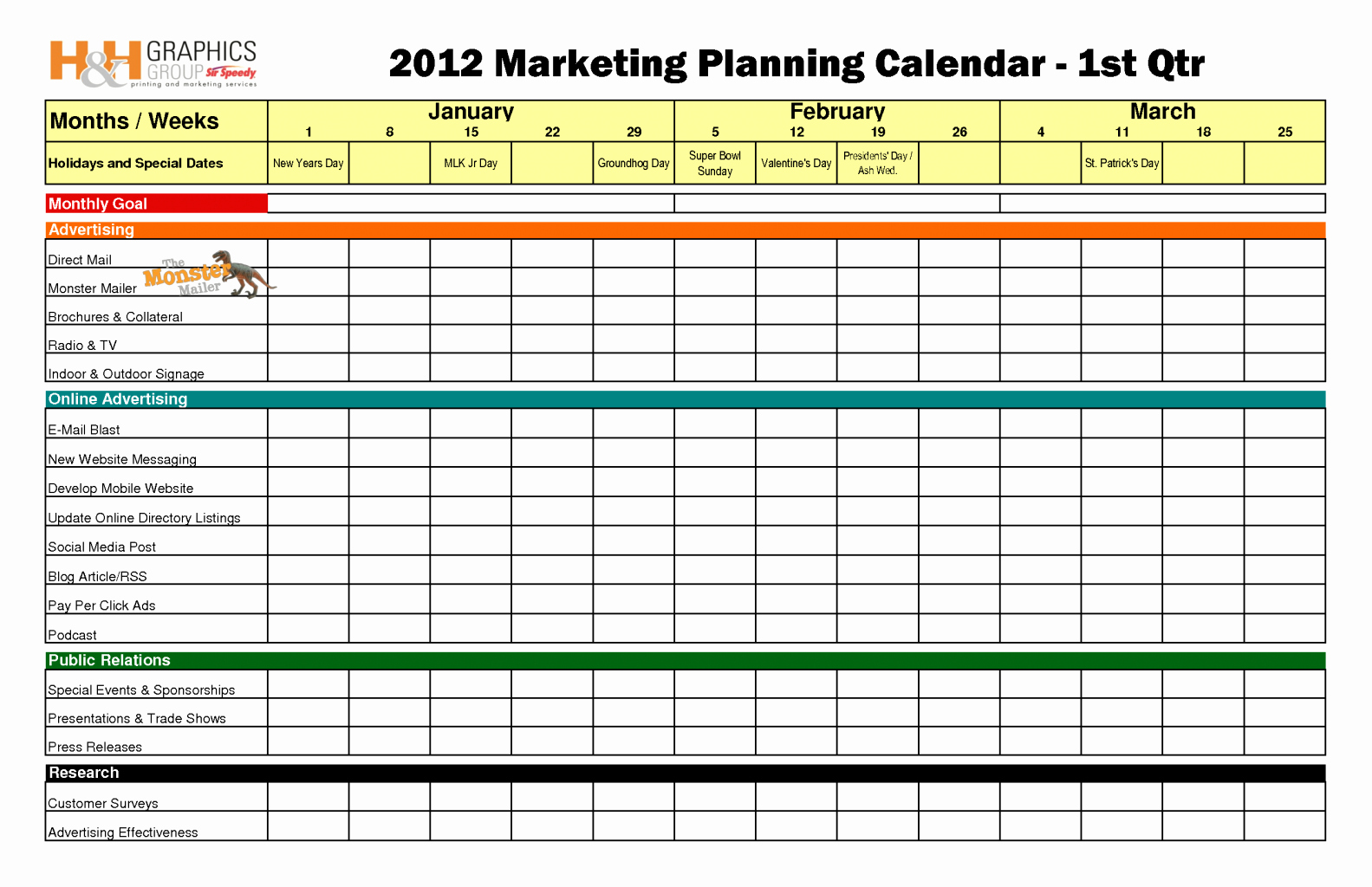 Marketing Plan Template Excel Luxury Marketing Calendar Template