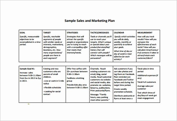 Marketing Plan Template Pdf Beautiful Sales Plan Template 23 Free Sample Example format