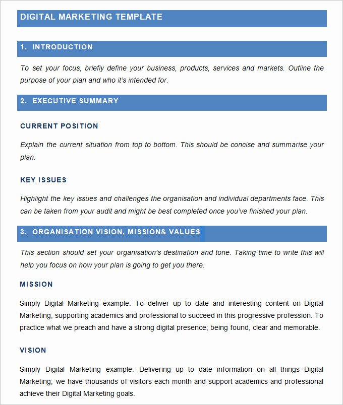 Marketing Plan Template Pdf Fresh Digital Marketing Plan Template 7 Free Word Pdf