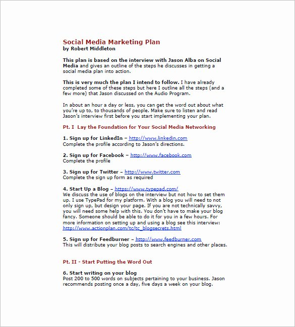 Marketing Plan Template Pdf Lovely 7 social Media Marketing Plan Templates Doc Pdf