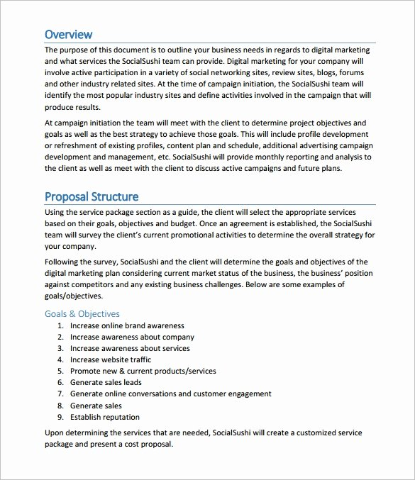 Marketing Proposal Template Word Fresh Proposal Templates – 140 Free Word Pdf format Download